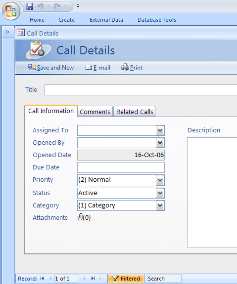 Access Call tracker Database