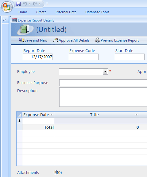 Expense reporting database
