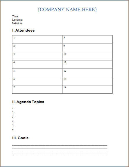 Agenda Templates Ms Office Templates